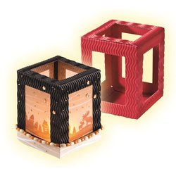 Mini-Laternenrohling 3D-Welle 10x10x12cm 5St farbig sortiert