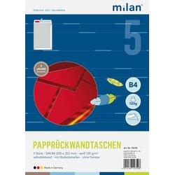 Papprückenwand-Tasche DIN B4 weiß  120g/m² 5St