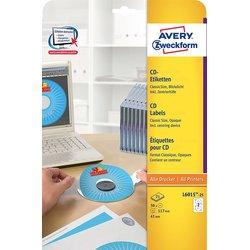 CD-Etiketten 117mm ClassicSize blickdicht mit Zentrierhilfe weiß 25Bl=50St