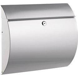 Briefkasten Stahl lackiert silber, gerundete Form, Maße:37,5x33x12 cm