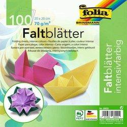 Faltblatt 70g 20x20cm eckig 100Bl intensivfarbig sortiert