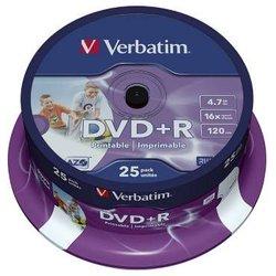 Rohling DVD+R, 4,7 GB,120 Min. 16-fach, inkjet bedruckbar