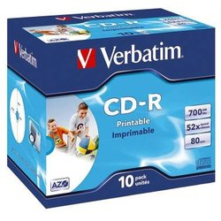 Rohling CD-R 80 Min. 700MB,52-fach Inkjet printable in Jewel Case