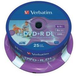 Rohling DVD+R Double Layer 8,5 GB, 8fach, Inkjet Printable,25er Spindel