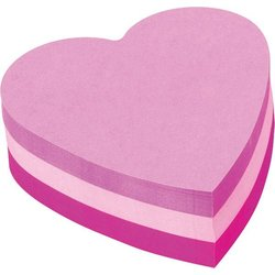 Haftnotizwürfel Herzform 70x70mm pink rosa violett 225Bl