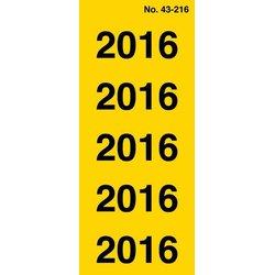 Rückenschildetiketten selbstklebend selbstklebend Jahreszahlen 2016 gelb permanent
