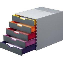 Schubladenbox Varicolor 5 geschlossene Schübe lichtgrau/bunt