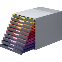 Schubladenbox Varicolor 10 geschlossene Schübe lichtgrau/bunt