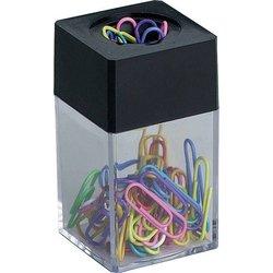 Magnetdose gefüllt mit Briefklammern farbig sortiert 26mm, eckige Dose