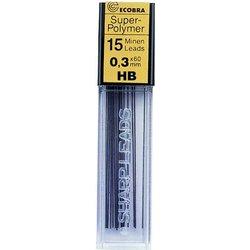 Feinminen Super-Polymer Härtegrad HB 0,3mm 15 Minen passend für alle Druckbleistifte