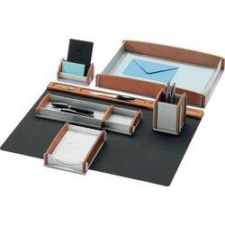 Schreibtisch-Set Buche-Echtholz(braun)/Aluminium 6-teilig