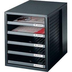 Schubladenbox A4 5Schübe offen sw/gr Schrankset 275x330x320mm