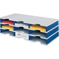 Sortierstation Polystyrol 9 Fächer grau/blau