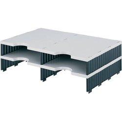 Aufbaueinheit Polystyrol 4 Fächer grau/blau