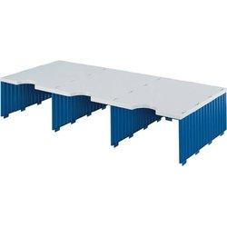Aufbaueinheit Polystyrol 3 Fächer grau/blau