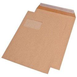 Papprückenwandtasche mit Fenster DIN C4 braun  120g/m² 100St