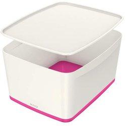 MyBox 18l, mittel, m.Deckel, weiß/pink