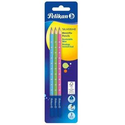 Bleistifte Silverino HB 3St. farbig sortiert