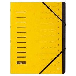 Ordnungsmappe Pressspankarton 280g A4 12-teilig gelb