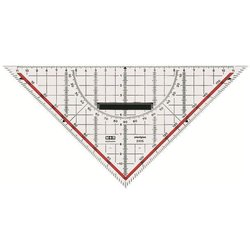 Geodreieck 22cm glasklar Skala rot hinterlegt 180° 1°45° Linie Markierte