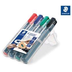 Permanentmarker Lumocolor 352 Rundspitze 2mm Etui mit 4 Farben sortiert in eienr Aufstellbox