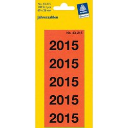Rückenschildetiketten selbstklebend selbstklebend Jahreszahlen 2015 rot permanent