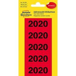 Jahreszahlen 2020 60x24mm rot 100 St.